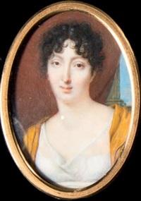 portrait de jeune femme en robe de voile blanc, écharpe jaune et coiffée de boucles by louis françois aubry
