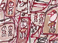 site aux 7 personnages, 306/ by jean dubuffet