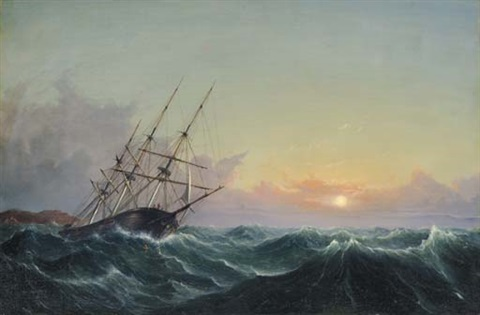 a storm breaking away vessel slipping her cable by fitz henry lane