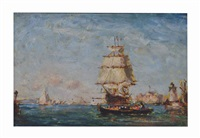 clipper ship in port by reynolds beal