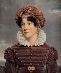 portrait d'une jeune femme au turban de cachemire by henri françois riesener