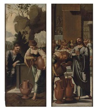 christ and the woman of samaria at the well (+ the marriage at cana; 2 works) by jan van scorel