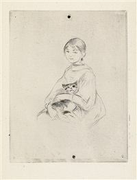 berthe morisot dessinant, avec sa fille * fillette au chat (julie manet) (2 works) by berthe morisot