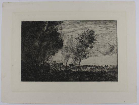 dans les dunes, souvenir du bois de la haye (from sonnets et eaux-fortes) by jean-baptiste-camille corot