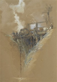 persian water-wheel, used for irrigation in nubia by david roberts