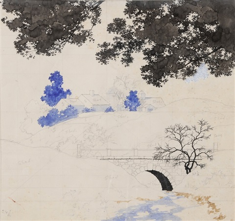 an estate view from a bridge, a preliminary sketch by maxfield parrish