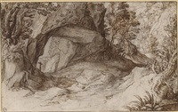 a mountainous landscape with a crucifix under a stone arch by paul bril