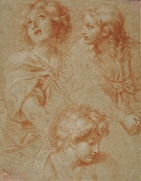 trois têtes (study) by michel corneille the younger