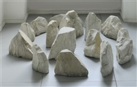 small carrara circle (in 16 parts) by richard long