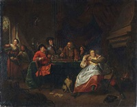figures making merry in an interior by jan baptist lambrechts