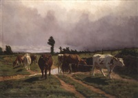 cattle in a landscape by rené peyrol