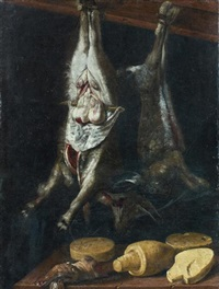 nature morte au chevreau, au lièvre et aux fromages by jacopo (da empoli) chimenti