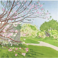 cherry blossoms painted outdoors by jane freilicher