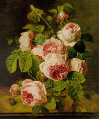 pink roses on a marble ledge by iphigénie milet-mureau