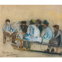 ouvriers autour d'un brasero, quai de la rapée à paris by armand guillaumin