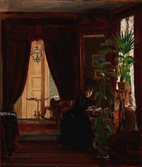 interior with a woman writing letters by christian (jens c.) thorrestrup