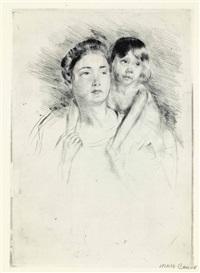 denise holding her child by both hands by mary cassatt