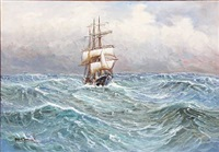 seascape with a sailing ship in high waves by alfred jensen