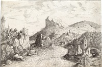 landscape with tobias at the river by hans sebald lautensack