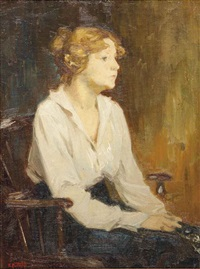 seated woman in a white blouse by edward henry potthast