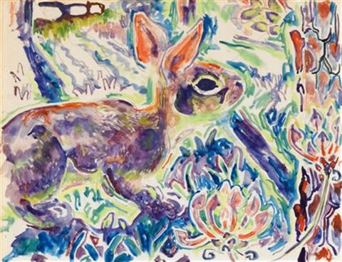rabbit with wild azalea by walter inglis anderson