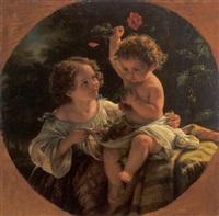 zwei kinder mit blumen spielend by eduard magnus