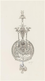 design sketch for a pendent by alphonse mucha