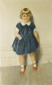 portrait of a little girl, full length, wearing a blue dress and red shoes by james peter quinn
