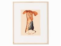 figure in brown & blue by jonathan meese