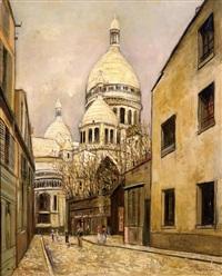 sacré-cœur de montmartre et rue du chevalier de la barre by maurice utrillo