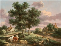 a landscape with a drover on a path with sheep and cattle by henry milbourne