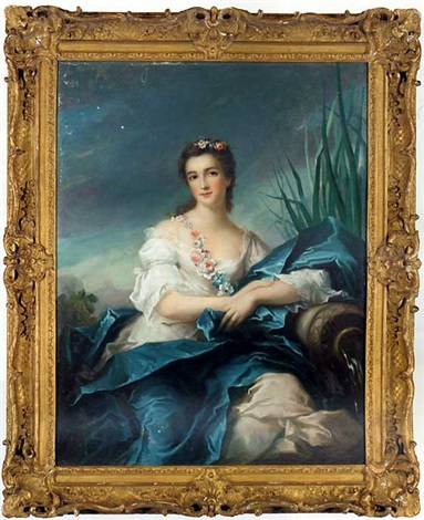 portrait of a lady as a river goddess in a white satin dress and blue mantel a garland of flowers over her shoulder by jean baptiste nattier