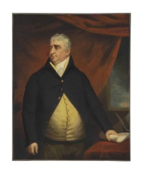 portrait of the right honourable charles james fox, three-quarter-length, standing beside a table by john opie