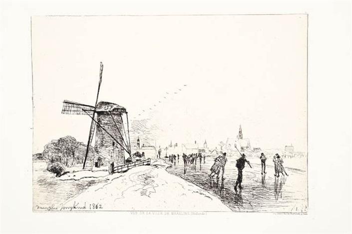 vue de la ville de maaslins hollande by johan barthold jongkind