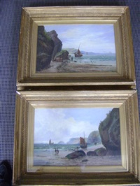 coastal landscapes with sailing vessels and fisherfolk (pair) by william gilbert foster