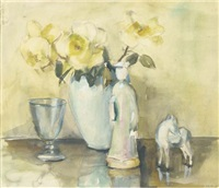 yellow roses and an oriental figurine by elise claudine arntzenius