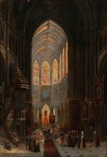 interior from the church of st by david roberts