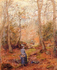 children gathering wild flowers in the woods by wilmot pilsbury