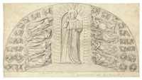 s. bernardino in glory with angels (after diccio) (+ 14 others; 15 works) by william young ottley