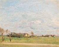landscape with farms by julius paulsen