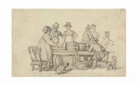 the oyster stall by thomas rowlandson