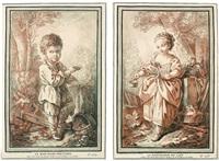 le marchand d'huitres (+ la marchande de lait; 2 works after j.f. clermont) by gilles-antoine demarteau