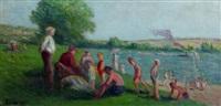 méricourt, baignade au bord de la seine by maximilien luce