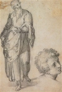 a standing bearded man with a subsibiary of a head of a youth (study) (+ a fragmentary sketch of figures, verso) by giovanni battista di matteo naldini