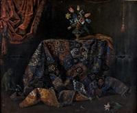 nature morte au tapis iranien, vase de fleurs et singe by french school (17)