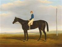 deception, winner of the 1939 oaks, with jockey up by james (of bath) loder