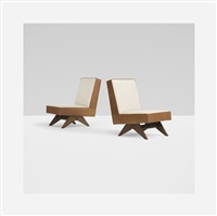 pair of lounge chairs from chandigarh by pierre jeanneret