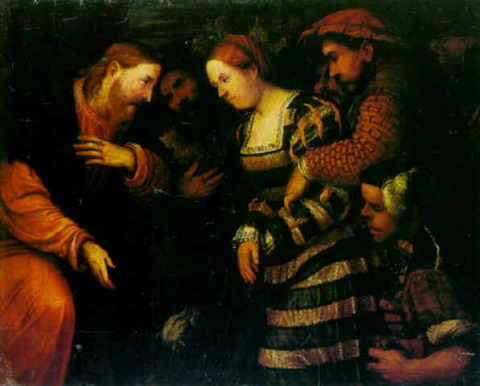 christ and the woman taken into adultery by romanino girolamo romani