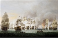the battle of trafalgar, 21st october - nelson's flagship victory and téméraire in close action with the french rédoubtable as the battle rages around them by thomas luny