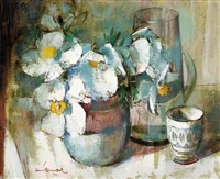 still life with daisies and vessels by irmin henkel